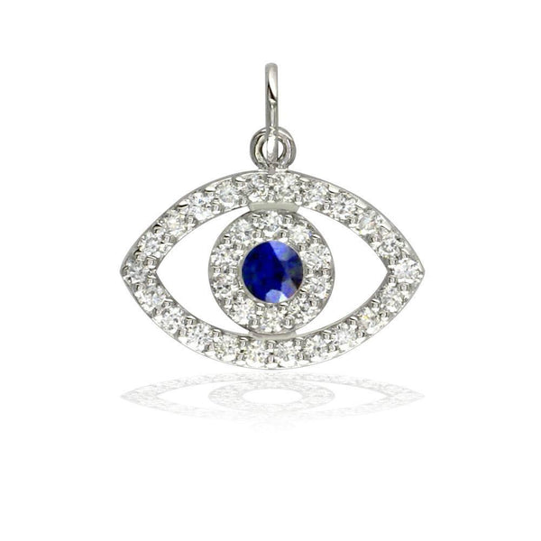 Sziro Sparkles Sapphire and Diamond Evil Eye Charm in 14K White, Yellow, Or Pink (Rose) Gold