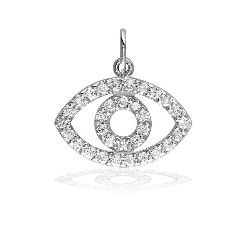 Sziro Sparkles Cubic Zirconia Evil Eye Charm in Sterling Silver
