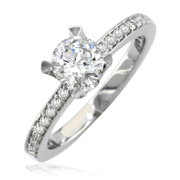 Round Diamond Engagement Ring Setting in 14K White Gold, 0.25CT