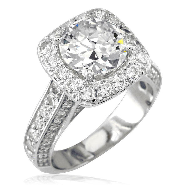 Diamond Engagement Ring with Soft Square Diamond Halo E/W-Z4575