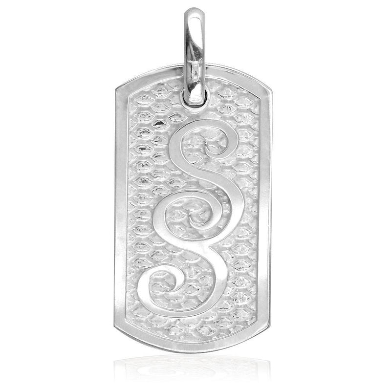 Name Or Initials Dog Tag Charm with Reptile Texture in Sterling Silver