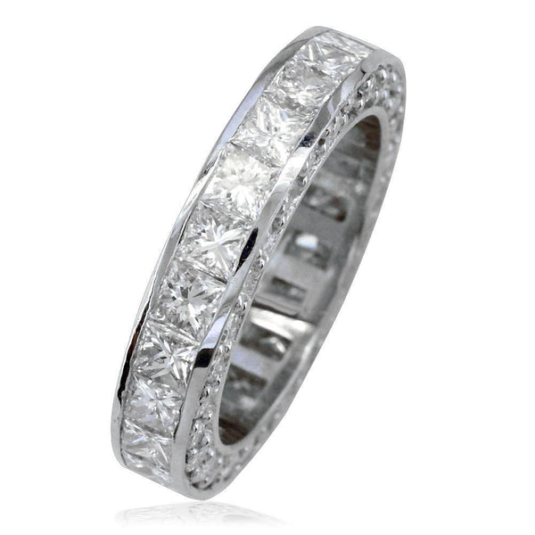 Matching Platinum Princess Cut Diamond Eternity Wedding Band, 3.87CT