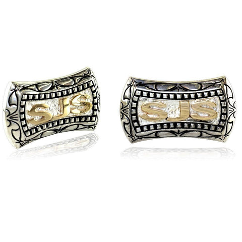 Mens Large Sterling Silver and 14K Yellow Gold Cufflinks