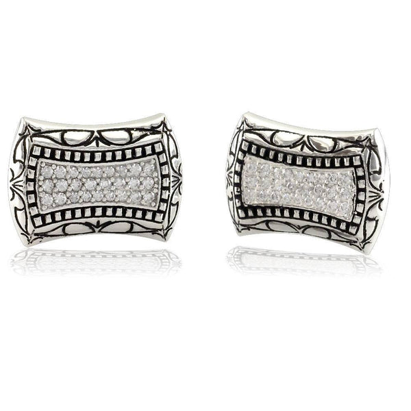 Mens Large Cubic Zirconia Cufflinks in Sterling Silver