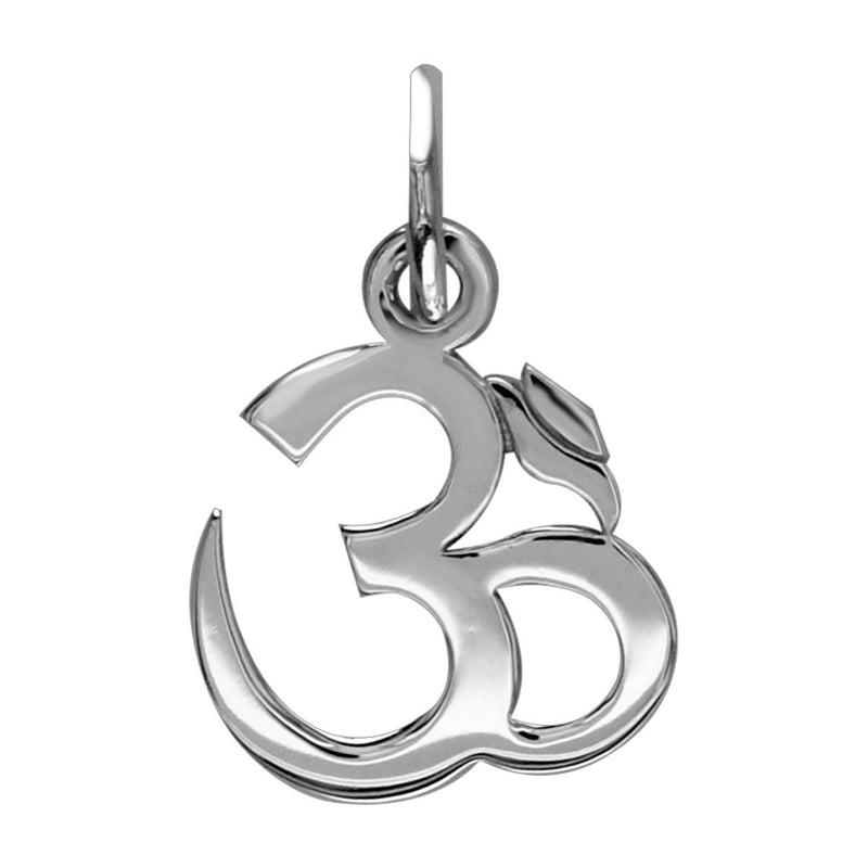 Small Classic Yoga Ohm, Om, Aum Charm in 14k White Gold
