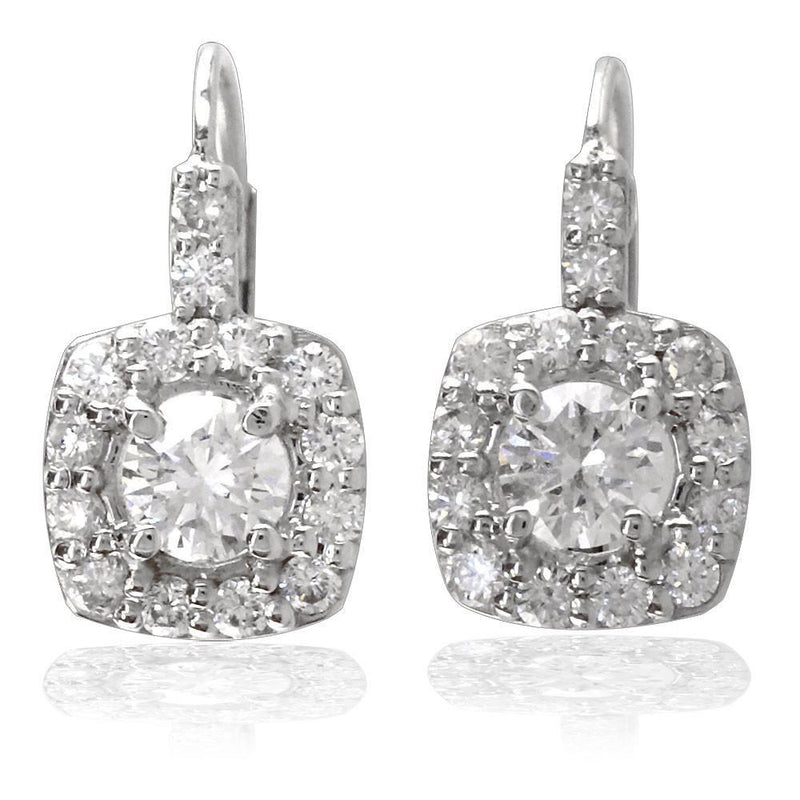14K White Gold Diamond Halo Earrings, Over 1 CT TDW