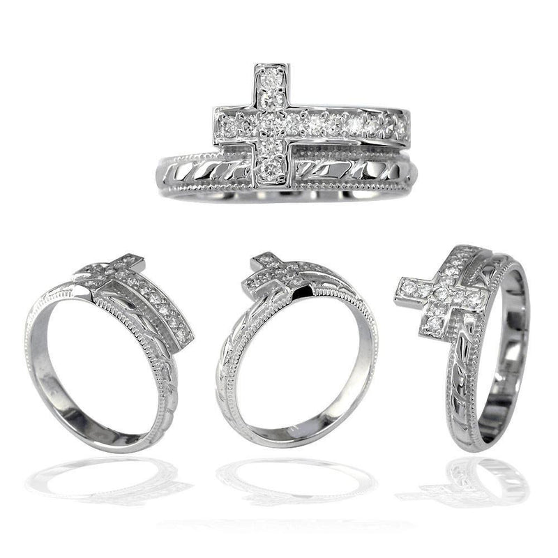 Diamond Christian Cross Ring in 18K White Gold