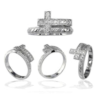 Cubic Zirconia Christian Cross Ring in 14K White Gold