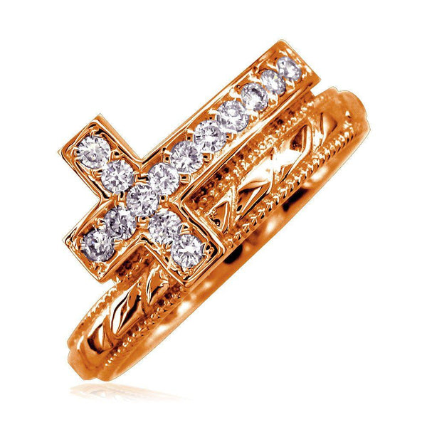 Cubic Zirconia Christian Cross Ring in 14K Pink Gold