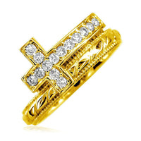 Cubic Zirconia Christian Cross Ring in 14K Yellow Gold