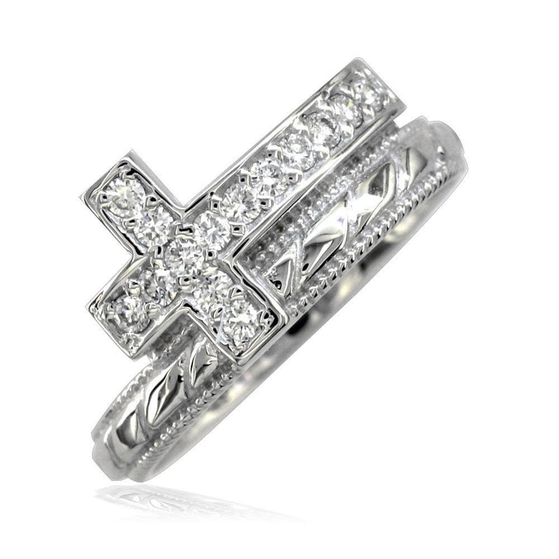 Diamond Christian Cross Ring in 14K White Gold
