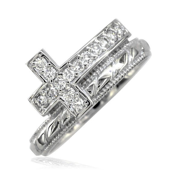 Cubic Zirconia Christian Cross Ring in Sterling Silver