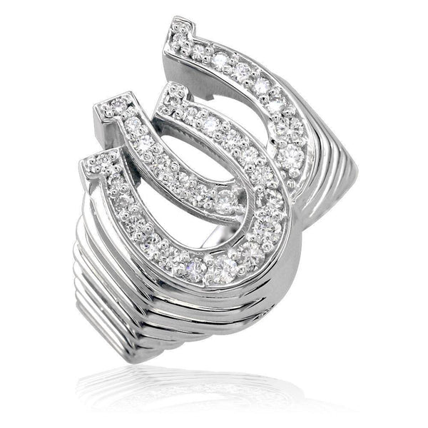 Cubic Zirconia Double Horseshoe Ring in Sterling Silver