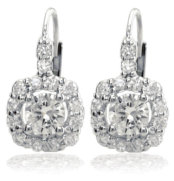 14K White Gold Round Diamond Earrings with Diamond Cushion Halos