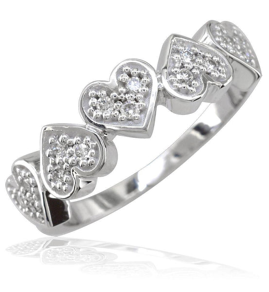 Diamond Hearts Band in 14K Gold, 5 Hearts, 0.30CT