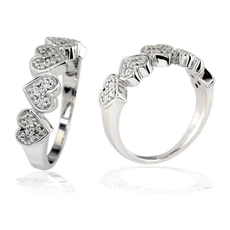 Cubic Zirconia Hearts Band in Sterling Silver, 5 Hearts, 0.30CT