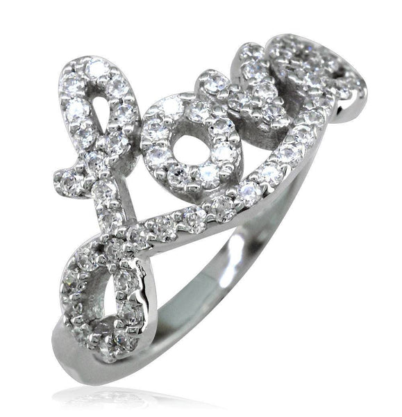 Cubic Zirconia Love Ring in Sterling Silver, 0.56CT