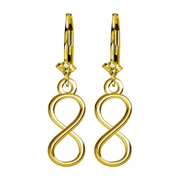 Small Infinity Symbol Earrings,6mm in 14K yellow gold