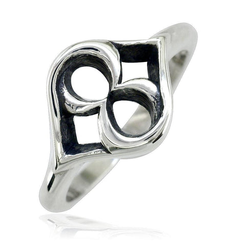 Hearts Infinity Ring with Black LR-Z4688Blk
