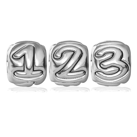 Embossed Number Bead for Charm Bracelet, 9mm Wide in Sterling Silver