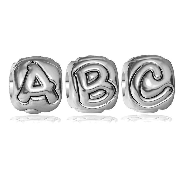 Embossed Alphabet Bead for Charm Bracelet, 9mm Wide in Sterling Silver