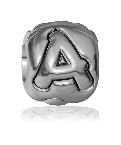 A - Bead, Single Alphabet Initial Letter for Name Bracelet, Capital, Uppercase A Charm Bracelet Bead, Embossed, Complete Alphabet and Numbers Available, Solid Sterling Silver