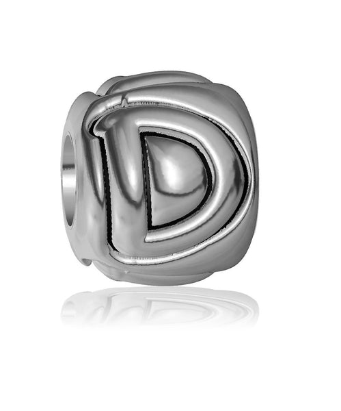 D - Bead, Single Alphabet Initial Letter for Name Bracelet, Capital, Uppercase D Charm Bracelet Bead, Embossed, Complete Alphabet and Numbers Available, Solid Sterling Silver