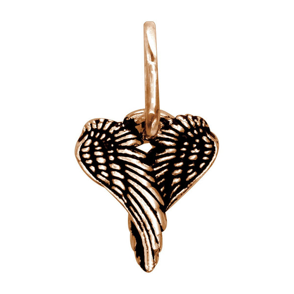 Mini Angel Heart Wings with Black, Wings Of Love,12mm in 14k Pink Gold