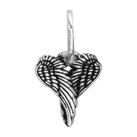 Mini Angel Heart Wings with Black, Wings Of Love,12mm in 14k White Gold
