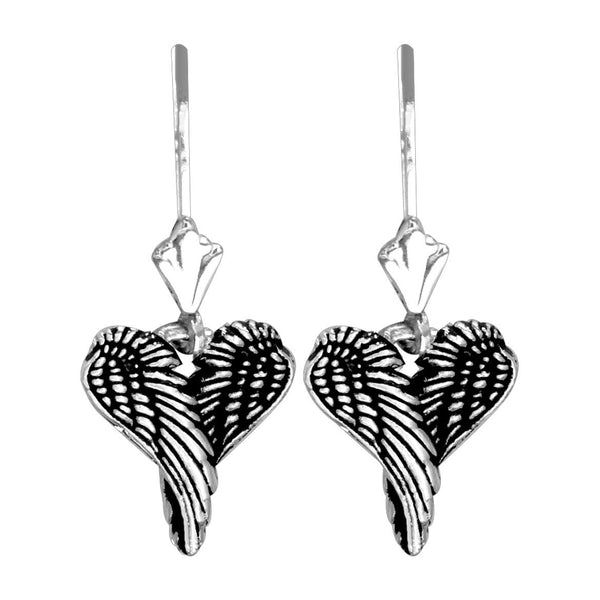 Mini Angel Love Heart Wings Earrings with Black, 12mm in 14k White Gold