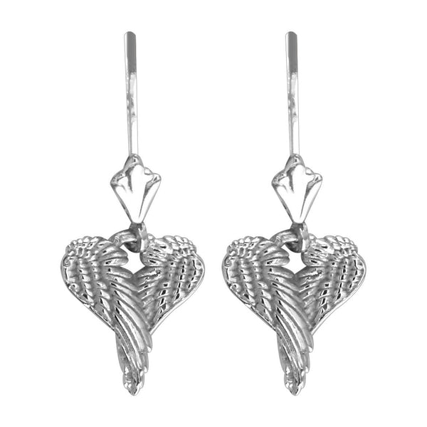Mini Angel Love Heart Wings Earrings, 12mm in 14K White Gold