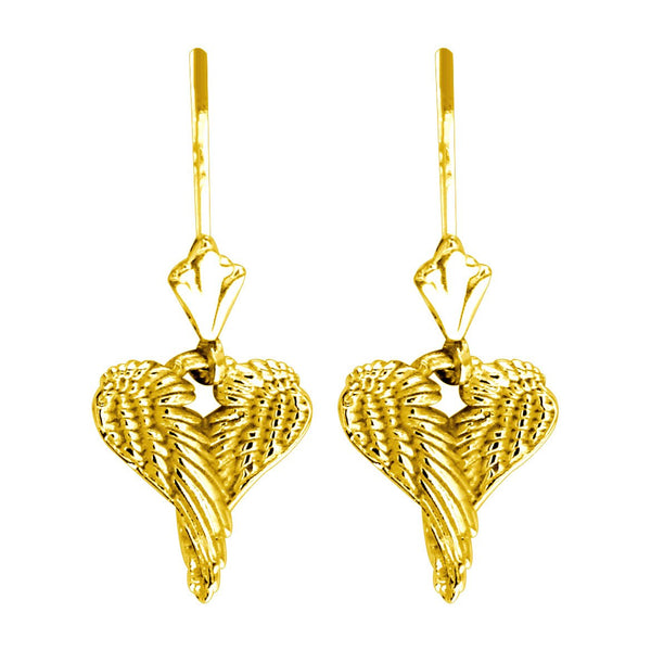 Mini Angel Love Heart Wings Earrings, 12mm in 14K Yellow Gold