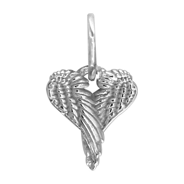 Mini Angel Heart Wings, Wings Of Love,12mm in 14k White Gold