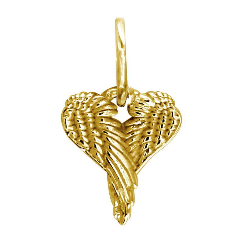Mini Angel Heart Wings, Wings Of Love,12mm in 14k Yellow Gold