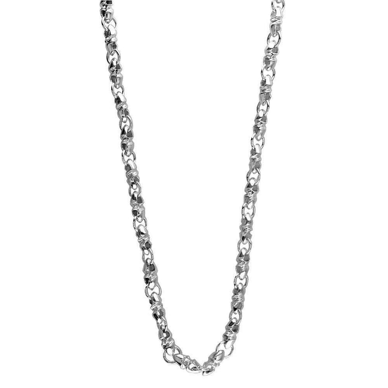 Mens Or Ladies Mini Size Link Twisted Bullet Sterling Silver Chain, 22""