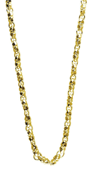 Mens Or Ladies Mini Size Link Twisted Bullet 14K Yellow Gold Chain, 22""