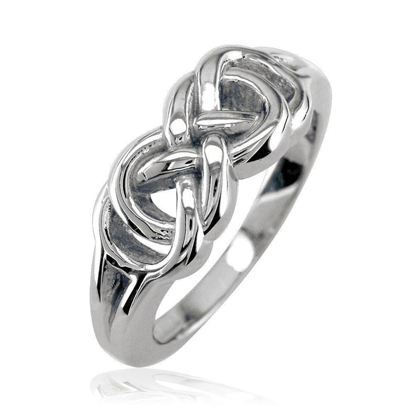 Thick and Heavy Double Infinity Ring, 7.5mm Wide in 14k White Gold