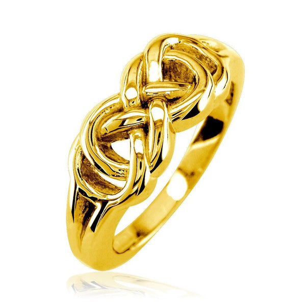 Thick and Heavy Double Infinity Ring, 7.5mm Wide in 18k Yellow Gold