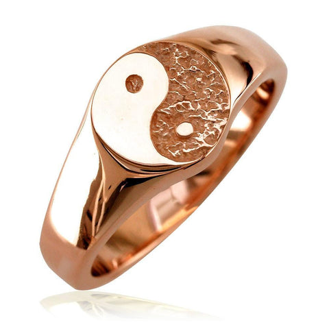 Solid Yin Yang Ring in 14k Pink, Rose Gold