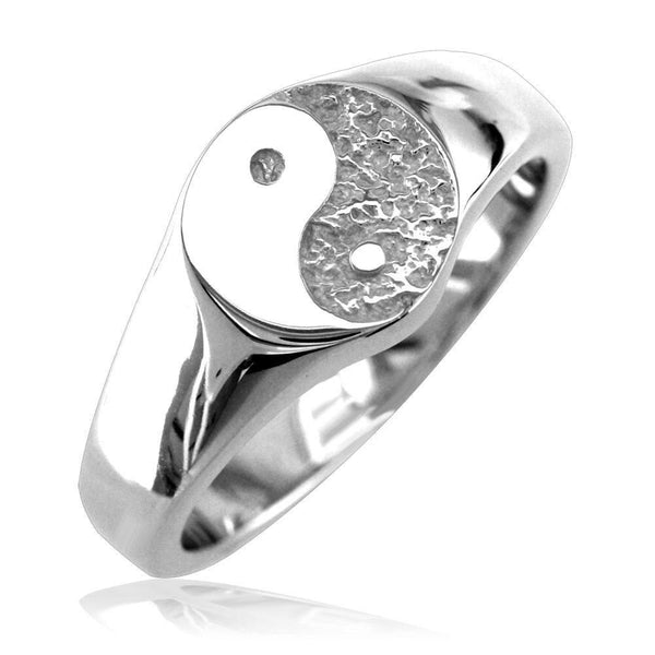 Solid Yin Yang Ring in Sterling Silver with Black