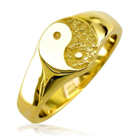Solid Yin Yang Ring in 14k Yellow Gold