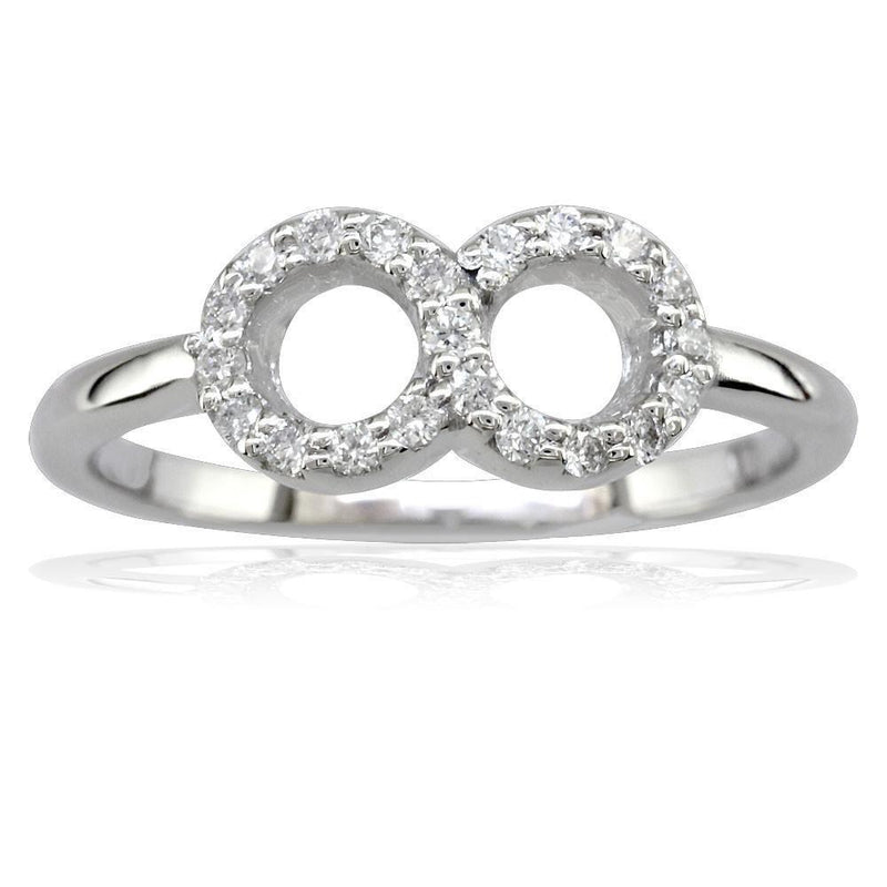 Petite Circular Diamond Infinity Ring, 6mm Wide in Sterling Silver