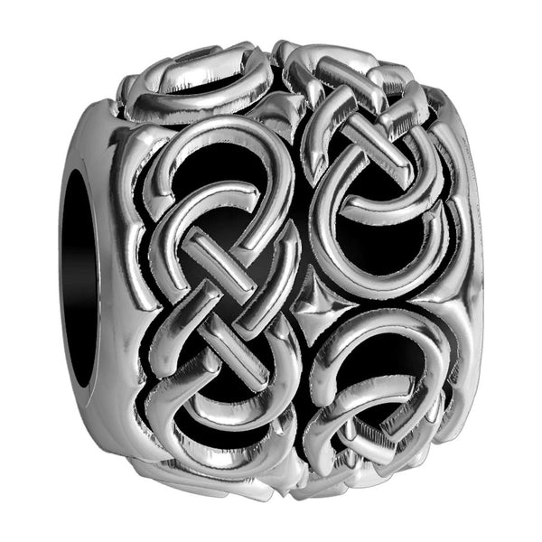 Repeating Double Infinity Symbol Charm Bracelet Bead in Sterling Silver
