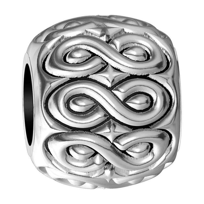 Repeating Infinity Symbol Charm Bracelet Bead in Sterling Silver