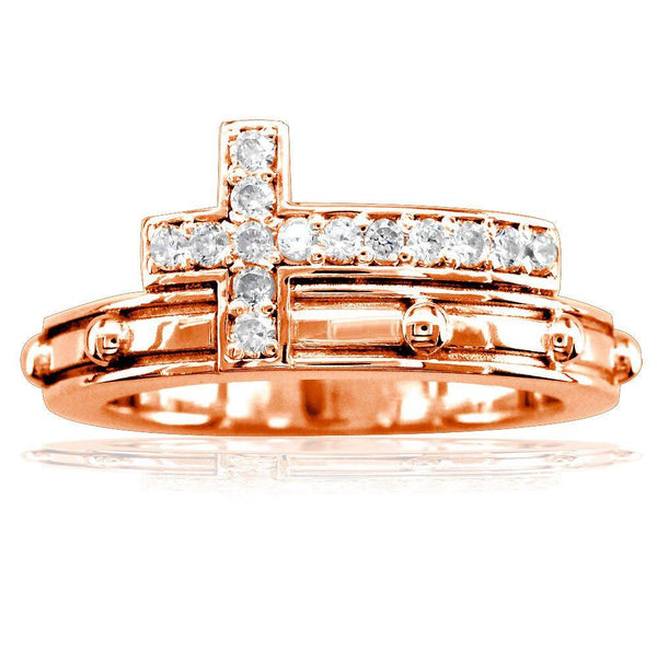 Diamond Rosary Ring in 14K Pink Gold