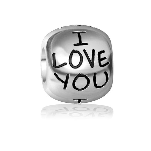 I Love You Charm Bracelet Bead, Engraved in Sterling Silver