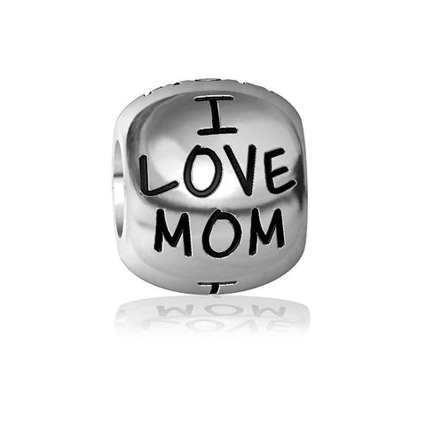 I Love Mom Charm Bracelet Bead, Engraved in Sterling Silver