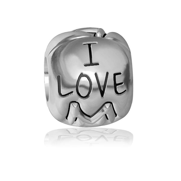 I Love Mommy Charm Bracelet Bead, Embossed in Sterling Silver