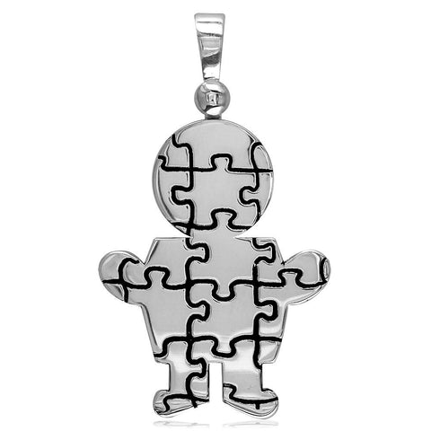 Super Size Autism Awareness Puzzle Boy Charm in Sterling Silver