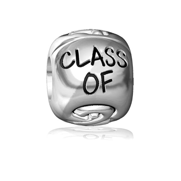Class of 2014 Graduation Charm Bracelet Bead, Embossed, Solid Sterling Silver